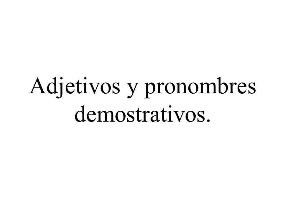 Adjetivos y pronombres demostrativos.