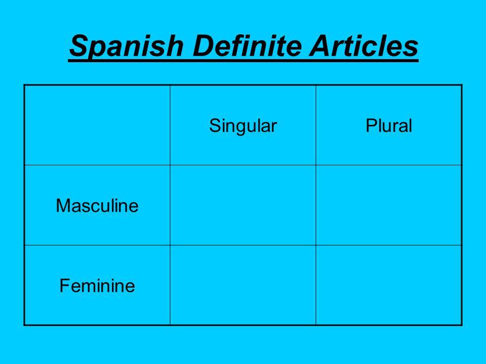 Spanish Definite Articles SingularPlural Masculine Feminine