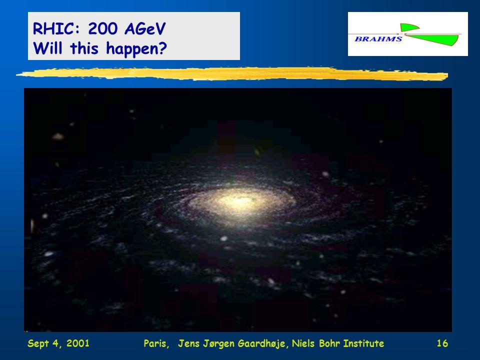 Sept 4, 2001Paris, Jens Jørgen Gaardhøje, Niels Bohr Institute16 RHIC: 200 AGeV Will this happen