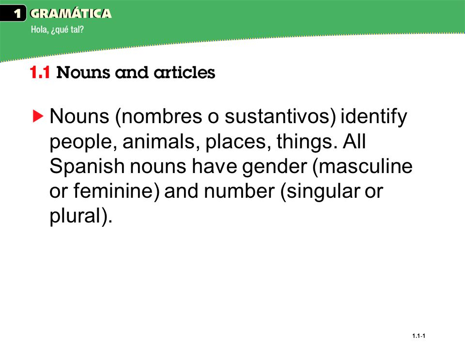1.1-1 Nouns (nombres o sustantivos) identify people, animals, places, things.