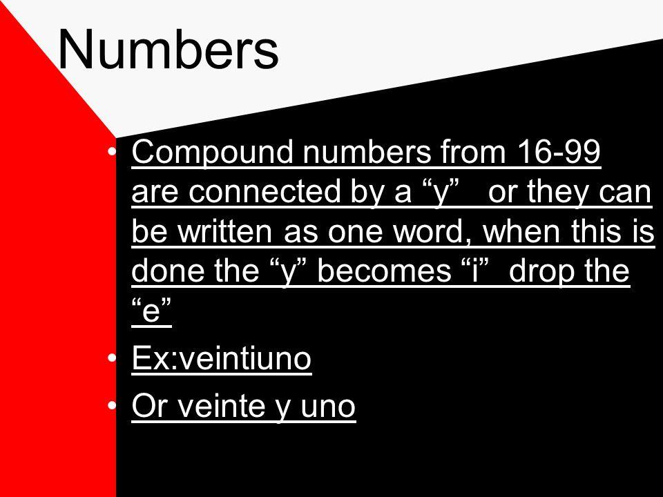 Numbers P. 7 Realidades 1