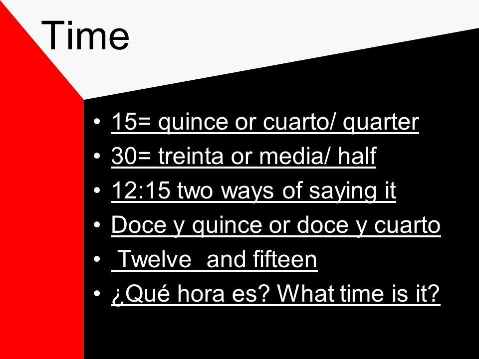 Time You use es= when it is 1:XX Also use la= 1:XX It is 1:XX Also use las= 2:XX It is 2:XX You use son when it is more than 2-12:XX Ex: Es la una y veinte y dos= 1:22 Ex: Son las dos y tres= 2:03