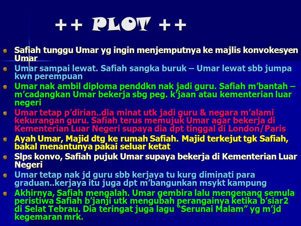 ++ PLOT ++ Safiah tunggu Umar yg ingin menjemputnya ke majlis konvokesyen Umar Umar sampai lewat. Safiah sangka buruk – Umar lewat sbb jumpa kwn perem