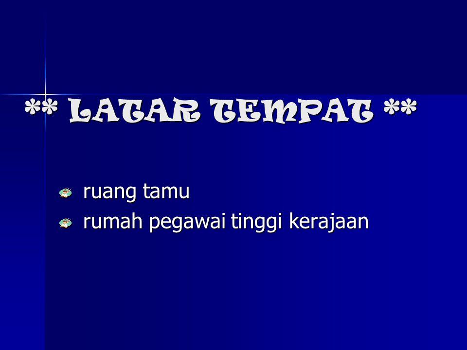 ** LATAR MASYARAKAT ** Masyarakat bandar moden & msykt kampung Msykt Melayu beragama Islam Msykt yg hormat tetamu Msykt yg suka amalkan cara hidup moden Msykt yg rajin & gigih