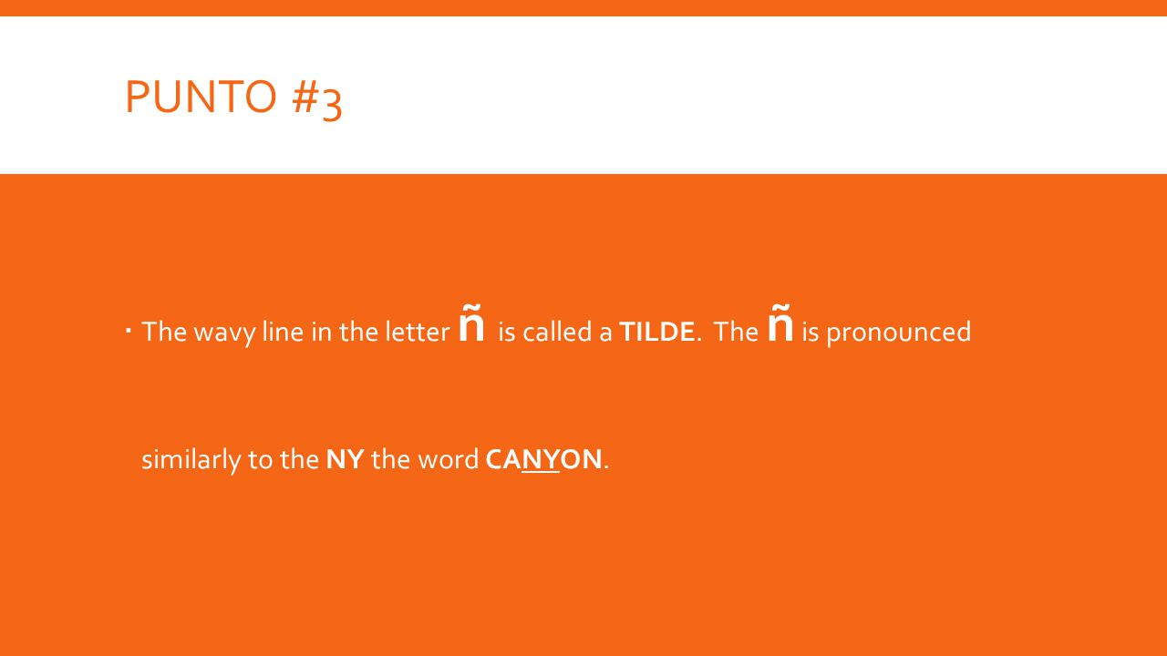 PUNTO #3  The wavy line in the letter ñ is called a TILDE.