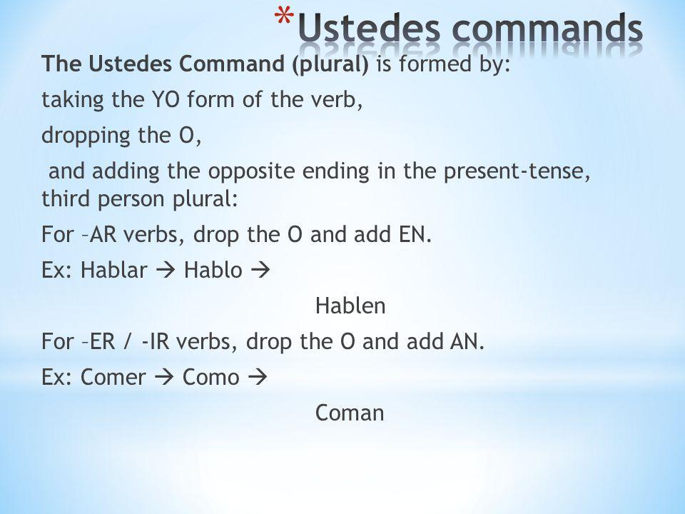 VerbUsted CommandUstedes Command Estudiar Abrir Aprender TenerTenga Hacer Poner Decir Salir Venir