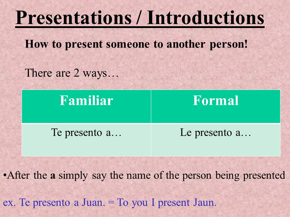 Presentations / Introductions FamiliarFormal Te presento a…Le presento a… How to present someone to another person.