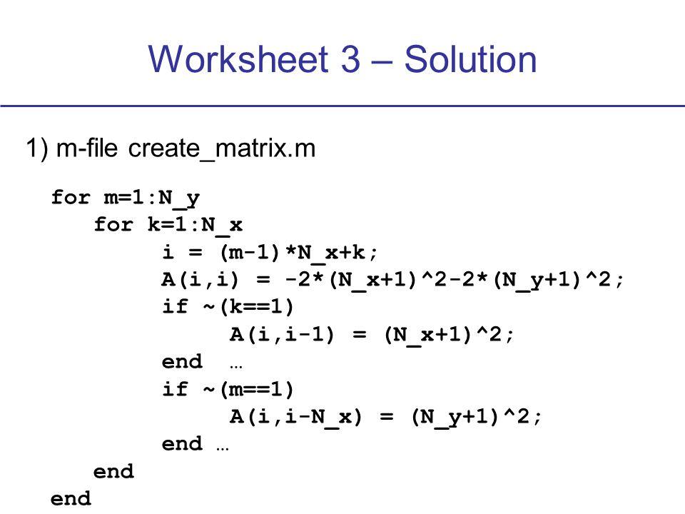 Worksheet 3 – Solution 1) m-file create_matrix.m for m=1:N_y for k=1:N_x i = (m-1)*N_x+k; A(i,i) = -2*(N_x+1)^2-2*(N_y+1)^2; if ~(k==1) A(i,i-1) = (N_x+1)^2; end … if ~(m==1) A(i,i-N_x) = (N_y+1)^2; end … end