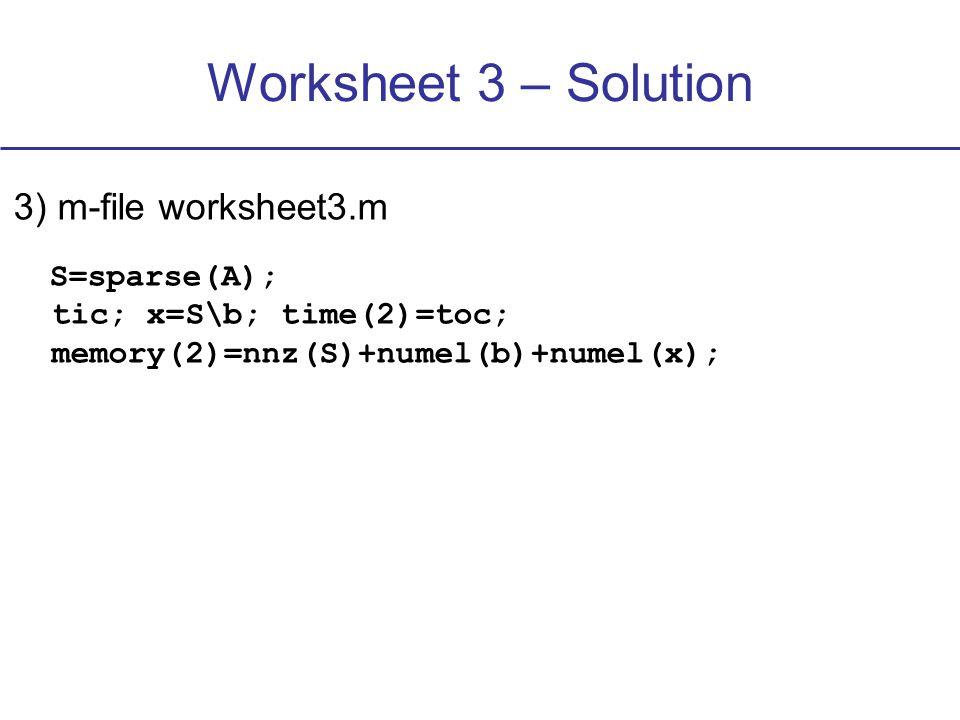 Worksheet 3 – Solution 3) m-file worksheet3.m tic; x_m=GaussSeidel(b,N_x,N_y); time(3)=toc memory(3)=numel(b)+numel(x_m)