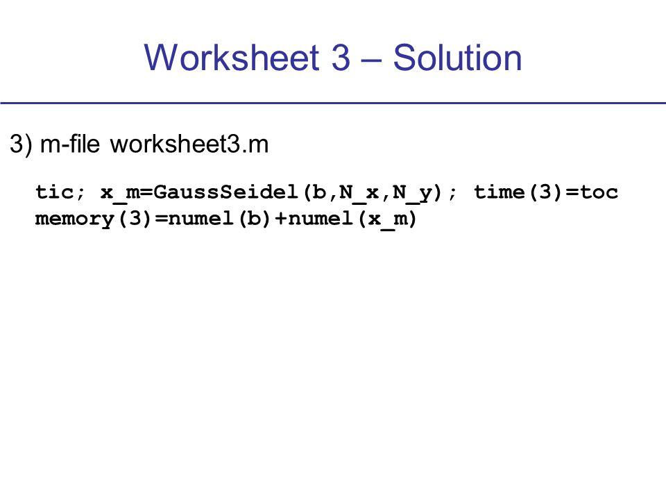 Worksheet 3 – Solution N x = N y =7