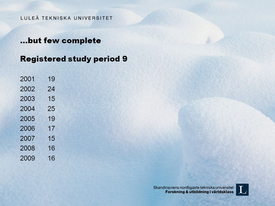 …but few complete Registered study period 9 200119 200224 200315 200425 200519 200617 200715 200816 200916