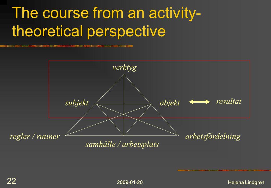2009-01-20Helena Lindgren 22 The course from an activity- theoretical perspective verktyg subjektobjekt regler / rutinerarbetsfördelning samhälle / arbetsplats resultat