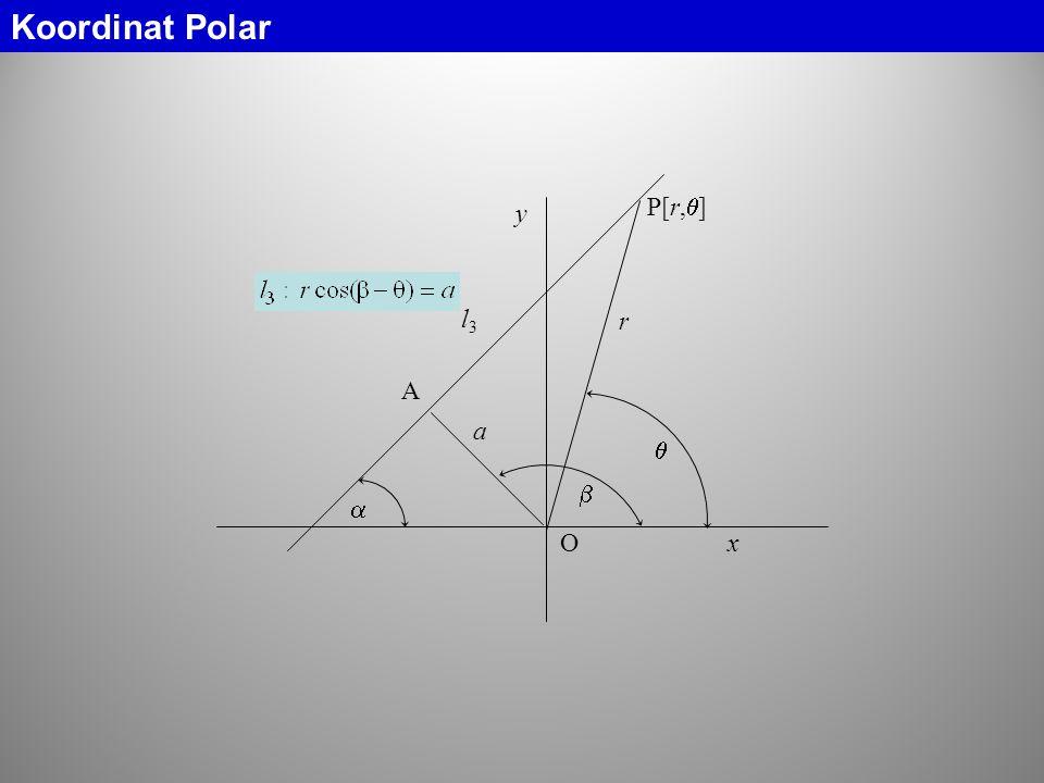  l3l3 O y x  a A r  Koordinat Polar