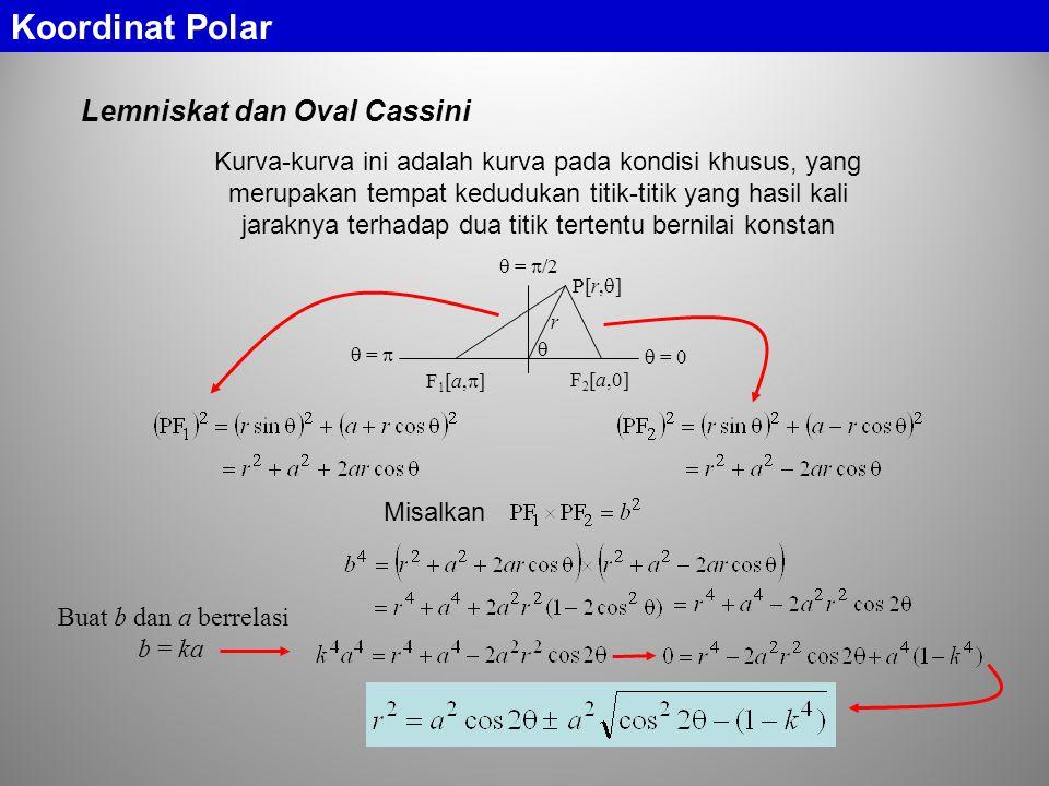 Lemniskat dan Oval Cassini Koordinat Polar F1[a,]F1[a,] F 2 [a,0] P[r,  ] r   = 0  =   =  /2 Kurva-kurva ini adalah kurva pada kondisi khusus, yang merupakan tempat kedudukan titik-titik yang hasil kali jaraknya terhadap dua titik tertentu bernilai konstan Misalkan Buat b dan a berrelasi b = ka