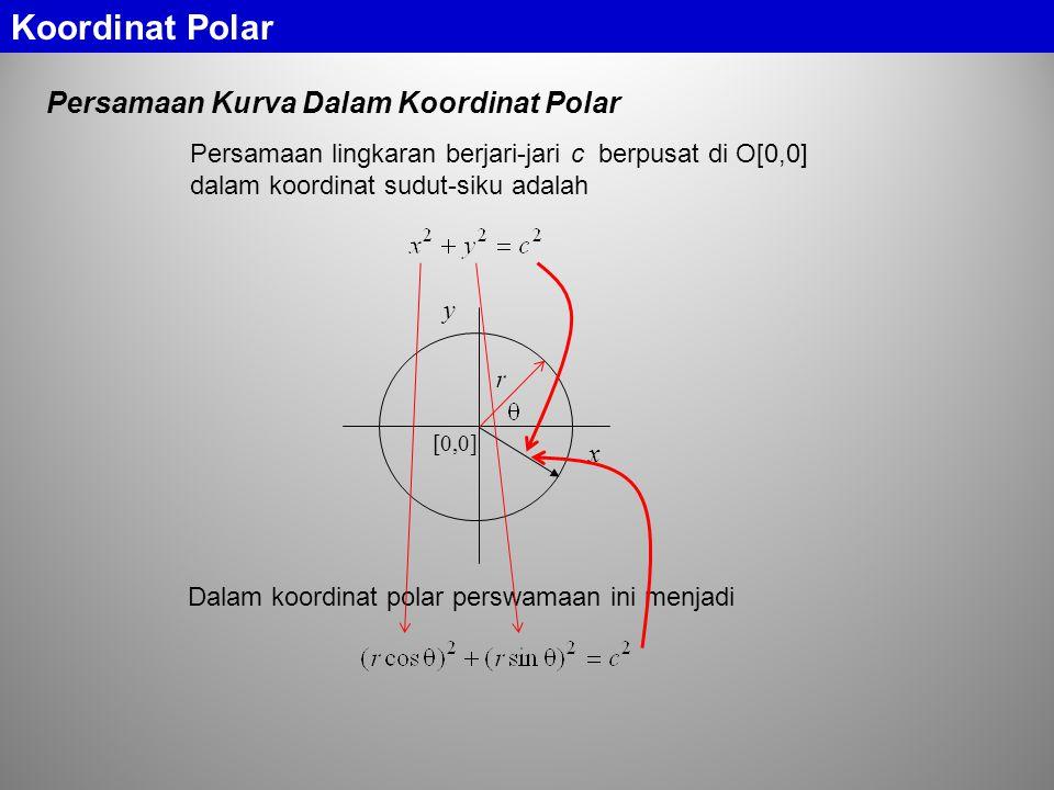 Koordinat Polar Persamaan Kurva Dalam Koordinat Polar Persamaan lingkaran berjari-jari c berpusat di O[0,0] dalam koordinat sudut-siku adalah [0,0] x y Dalam koordinat polar perswamaan ini menjadi
