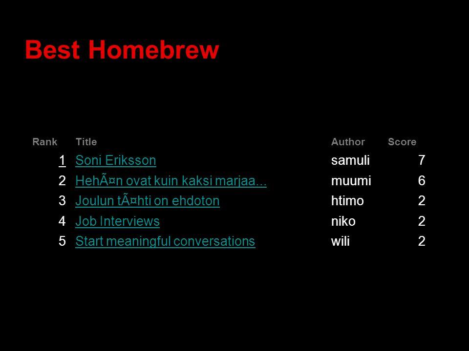 Best Homebrew RankTitleAuthorScore 1Soni Erikssonsamuli7 2Hehän ovat kuin kaksi marjaa...muumi6 3Joulun tähti on ehdotonhtimo2 4Job Interviewsniko2 5Start meaningful conversationswili2