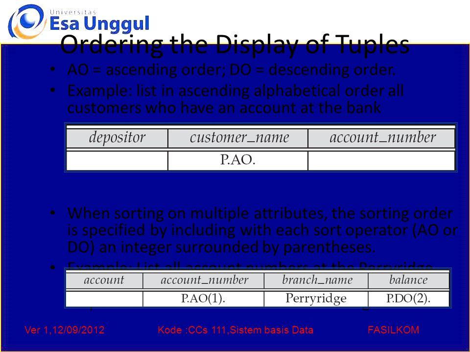 Ver 1,12/09/2012Kode :CCs 111,Sistem basis DataFASILKOM Ordering the Display of Tuples AO = ascending order; DO = descending order.
