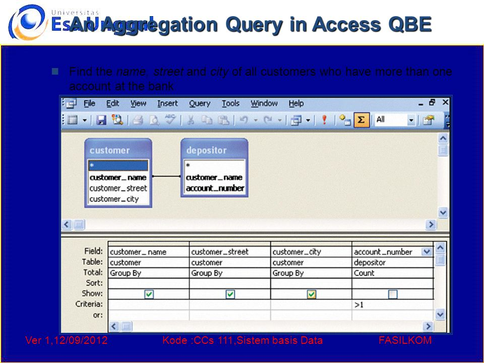 Ver 1,12/09/2012Kode :CCs 111,Sistem basis DataFASILKOM An Aggregation Query in Access QBE Find the name, street and city of all customers who have mo
