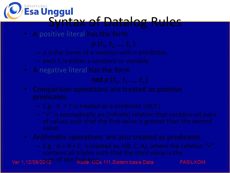 Ver 1,12/09/2012Kode :CCs 111,Sistem basis DataFASILKOM Syntax of Datalog Rules A positive literal has the form p (t 1, t 2..., t n ) – p is the name