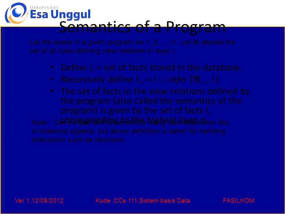 Ver 1,12/09/2012Kode :CCs 111,Sistem basis DataFASILKOM Semantics of a Program Define I 0 = set of facts stored in the database.