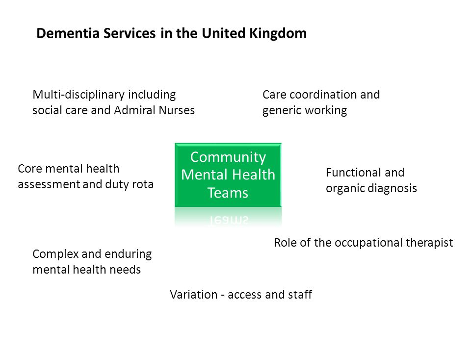 Dementia Services in the United Kingdom Community Mental Health Teams Multi-disciplinary including social care and Admiral Nurses Care coordination an