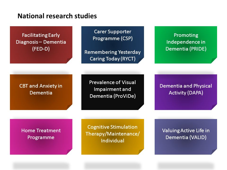 National research studies CBT and Anxiety in Dementia Dementia and Physical Activity (DAPA) Prevalence of Visual Impairment and Dementia (ProViDe) Fac