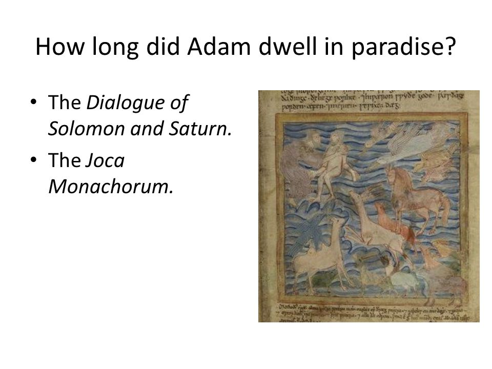 How long did Adam dwell in paradise The Dialogue of Solomon and Saturn. The Joca Monachorum.