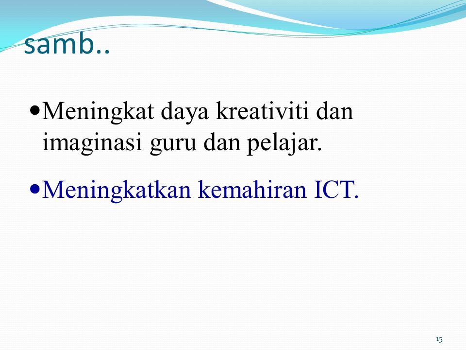 samb.. Meningkat daya kreativiti dan imaginasi guru dan pelajar. Meningkatkan kemahiran ICT. 15