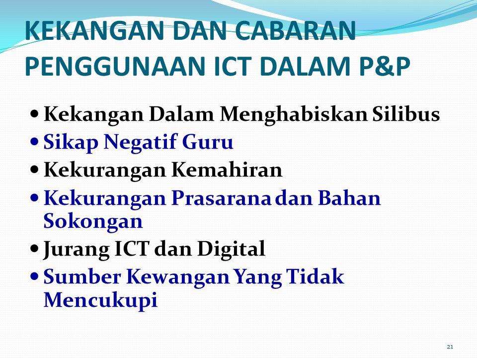 KEKANGAN DAN CABARAN PENGGUNAAN ICT DALAM P&P Kekangan Dalam Menghabiskan Silibus Sikap Negatif Guru Kekurangan Kemahiran Kekurangan Prasarana dan Bahan Sokongan Jurang ICT dan Digital Sumber Kewangan Yang Tidak Mencukupi 21
