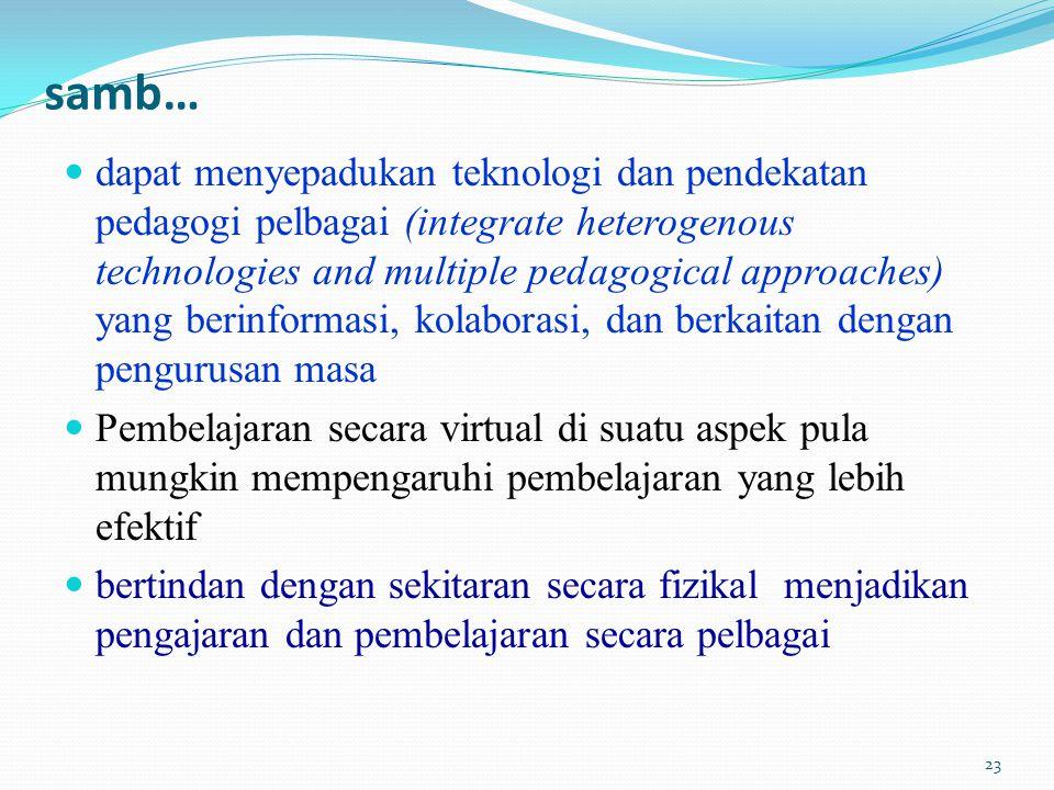 samb… dapat menyepadukan teknologi dan pendekatan pedagogi pelbagai (integrate heterogenous technologies and multiple pedagogical approaches) yang berinformasi, kolaborasi, dan berkaitan dengan pengurusan masa Pembelajaran secara virtual di suatu aspek pula mungkin mempengaruhi pembelajaran yang lebih efektif bertindan dengan sekitaran secara fizikal menjadikan pengajaran dan pembelajaran secara pelbagai 23