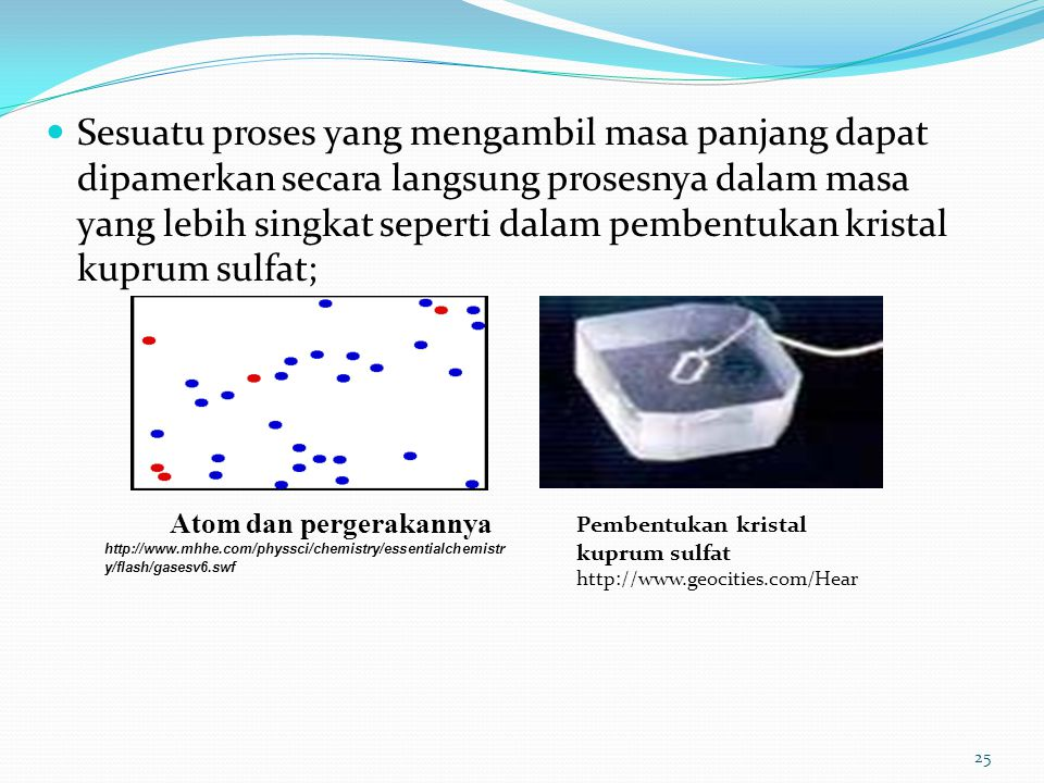 Sesuatu proses yang mengambil masa panjang dapat dipamerkan secara langsung prosesnya dalam masa yang lebih singkat seperti dalam pembentukan kristal kuprum sulfat; Atom dan pergerakannya http://www.mhhe.com/physsci/chemistry/essentialchemistr y/flash/gasesv6.swf Pembentukan kristal kuprum sulfat http://www.geocities.com/Hear 25