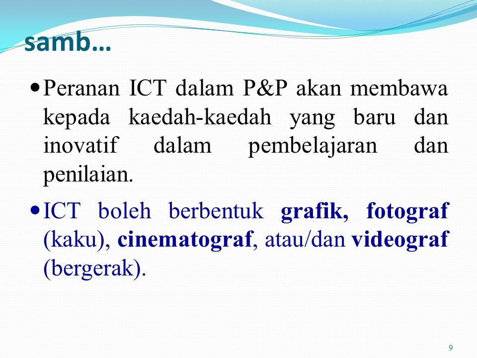 samb… Peranan ICT dalam P&P akan membawa kepada kaedah-kaedah yang baru dan inovatif dalam pembelajaran dan penilaian.