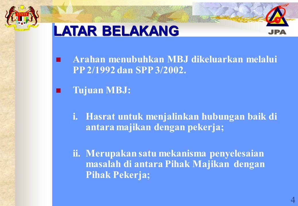 4 LATAR BELAKANG Arahan menubuhkan MBJ dikeluarkan melalui PP 2/1992 dan SPP 3/2002. Tujuan MBJ: i. Hasrat untuk menjalinkan hubungan baik di antara m