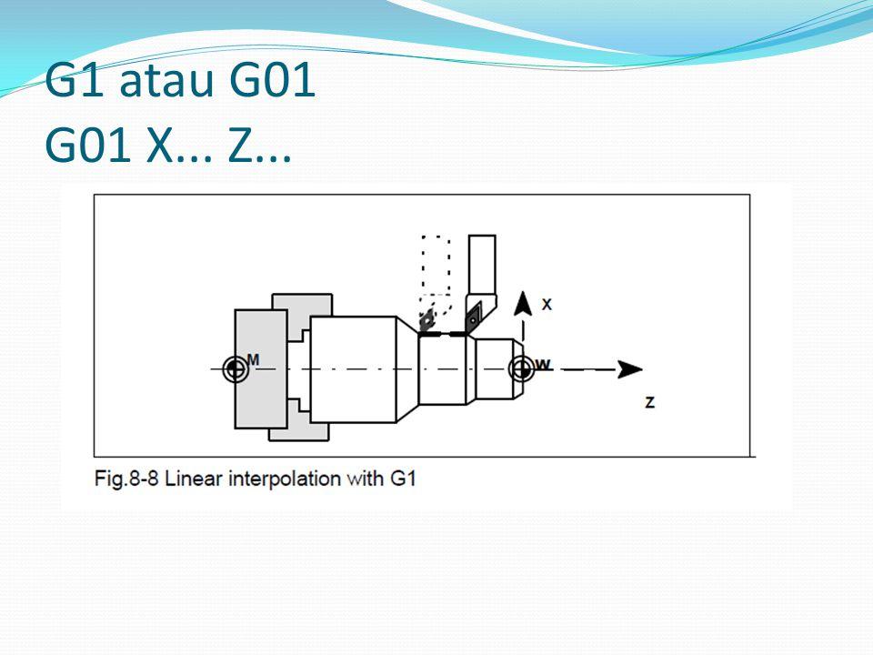 G1 atau G01 G01 X... Z...
