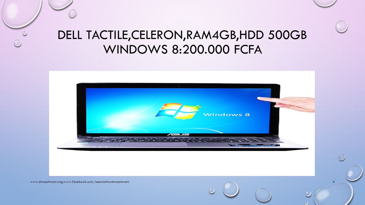 DELL,CELERON,RAM4GB,HDD 500GB WINDOWS 8:175.000 FCFA www.simasohnani.org;www.facebook.com/associationsimasohnani5