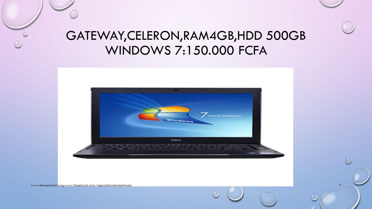 DELL TACTILE,CELERON,RAM4GB,HDD 500GB WINDOWS 8:200.000 FCFA www.simasohnani.org;www.facebook.com/associationsimasohnani6