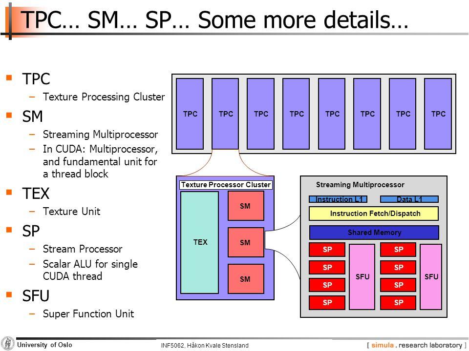 INF5062, Pål Halvorsen and Carsten Griwodz University of Oslo TPC… SM… SP… Some more details… TPC TEX SM SP SFU SP SFU Instruction Fetch/Dispatch Inst