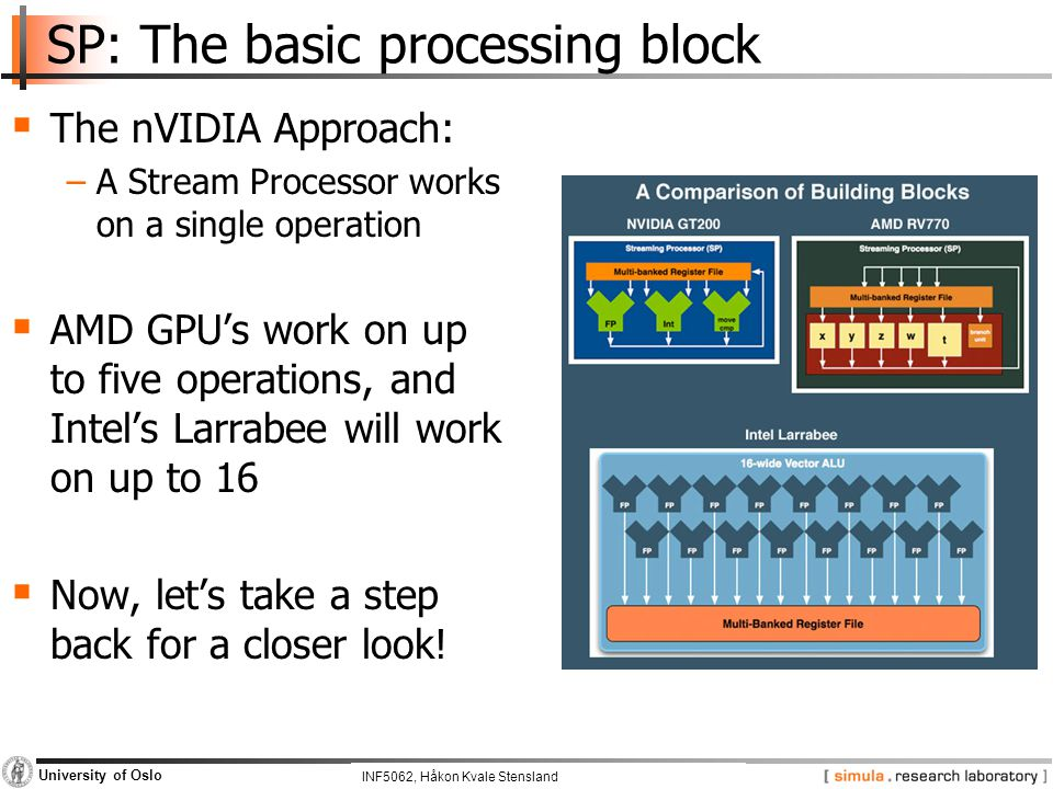 INF5062, Pål Halvorsen and Carsten Griwodz University of Oslo SP: The basic processing block  The nVIDIA Approach: −A Stream Processor works on a single operation  AMD GPU's work on up to five operations, and Intel's Larrabee will work on up to 16  Now, let's take a step back for a closer look.
