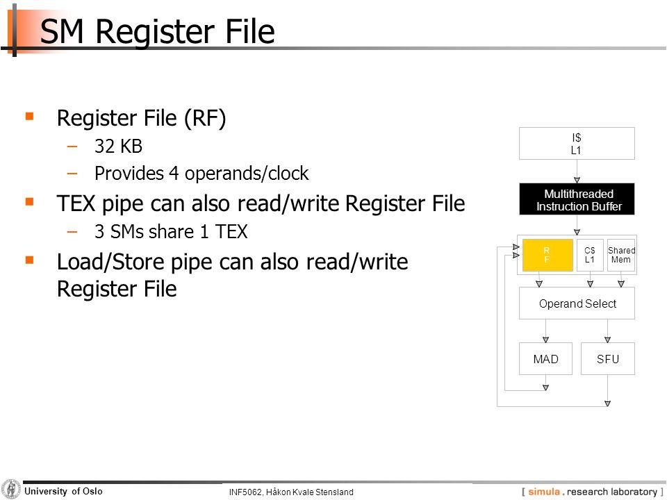 INF5062, Pål Halvorsen and Carsten Griwodz University of Oslo SM Register File  Register File (RF) −32 KB −Provides 4 operands/clock  TEX pipe can a