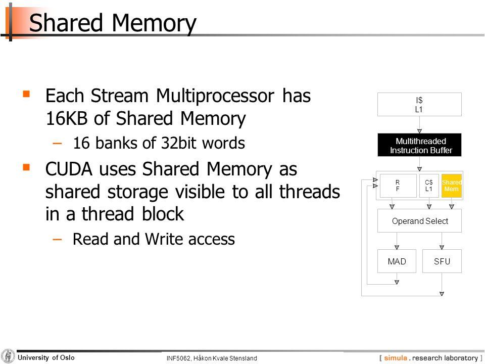 INF5062, Pål Halvorsen and Carsten Griwodz University of Oslo Shared Memory  Each Stream Multiprocessor has 16KB of Shared Memory −16 banks of 32bit