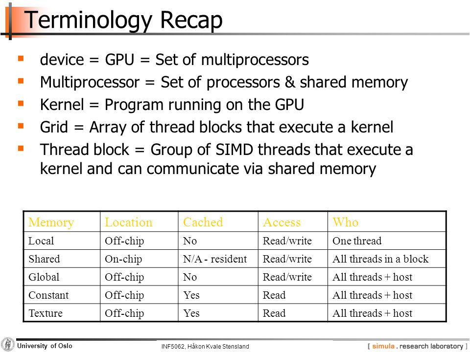 INF5062, Pål Halvorsen and Carsten Griwodz University of Oslo Terminology Recap  device = GPU = Set of multiprocessors  Multiprocessor = Set of processors & shared memory  Kernel = Program running on the GPU  Grid = Array of thread blocks that execute a kernel  Thread block = Group of SIMD threads that execute a kernel and can communicate via shared memory MemoryLocationCachedAccessWho LocalOff-chipNoRead/writeOne thread SharedOn-chipN/A - residentRead/writeAll threads in a block GlobalOff-chipNoRead/writeAll threads + host ConstantOff-chipYesReadAll threads + host TextureOff-chipYesReadAll threads + host INF5062, Håkon Kvale Stensland