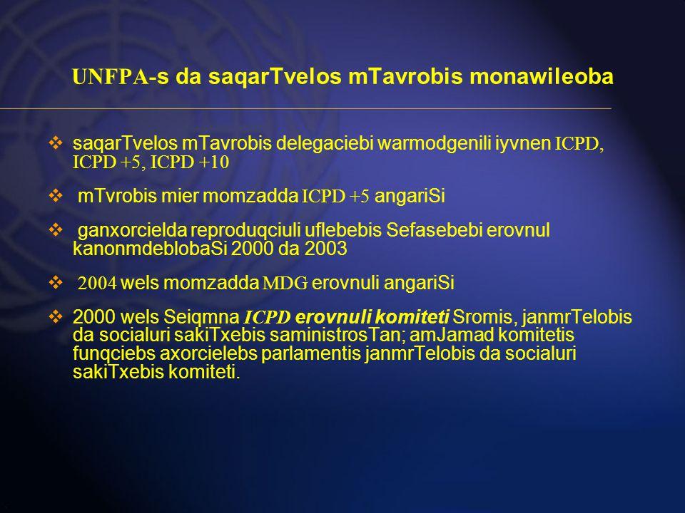 UNFPA- s da saqarTvelos mTavrobis monawileoba  saqarTvelos mTavrobis delegaciebi warmodgenili iyvnen ICPD, ICPD +5, ICPD +10  mTvrobis mier momzadda ICPD +5 angariSi  ganxorcielda reproduqciuli uflebebis Sefasebebi erovnul kanonmdeblobaSi 2000 da 2003  2004 wels momzadda MDG erovnuli angariSi  2000 wels Seiqmna ICPD erovnuli komiteti Sromis, janmrTelobis da socialuri sakiTxebis saministrosTan; amJamad komitetis funqciebs axorcielebs parlamentis janmrTelobis da socialuri sakiTxebis komiteti.