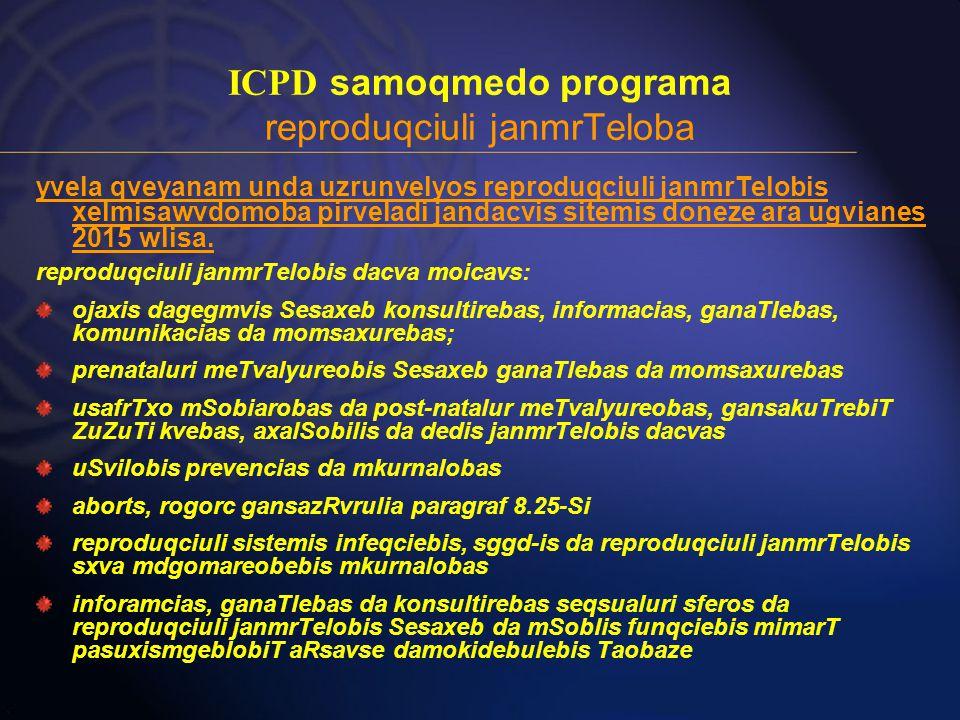 ICPD samoqmedo programa reproduqciuli janmrTeloba yvela qveyanam unda uzrunvelyos reproduqciuli janmrTelobis xelmisawvdomoba pirveladi jandacvis sitemis doneze ara ugvianes 2015 wlisa.