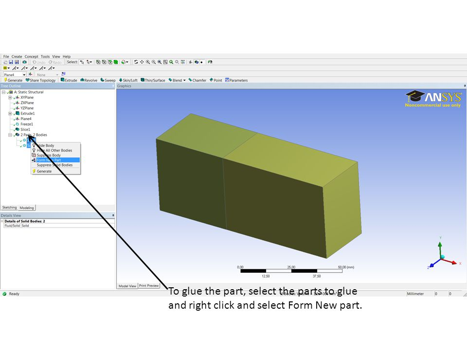 To glue the part, select the parts to glue and right click and select Form New part.