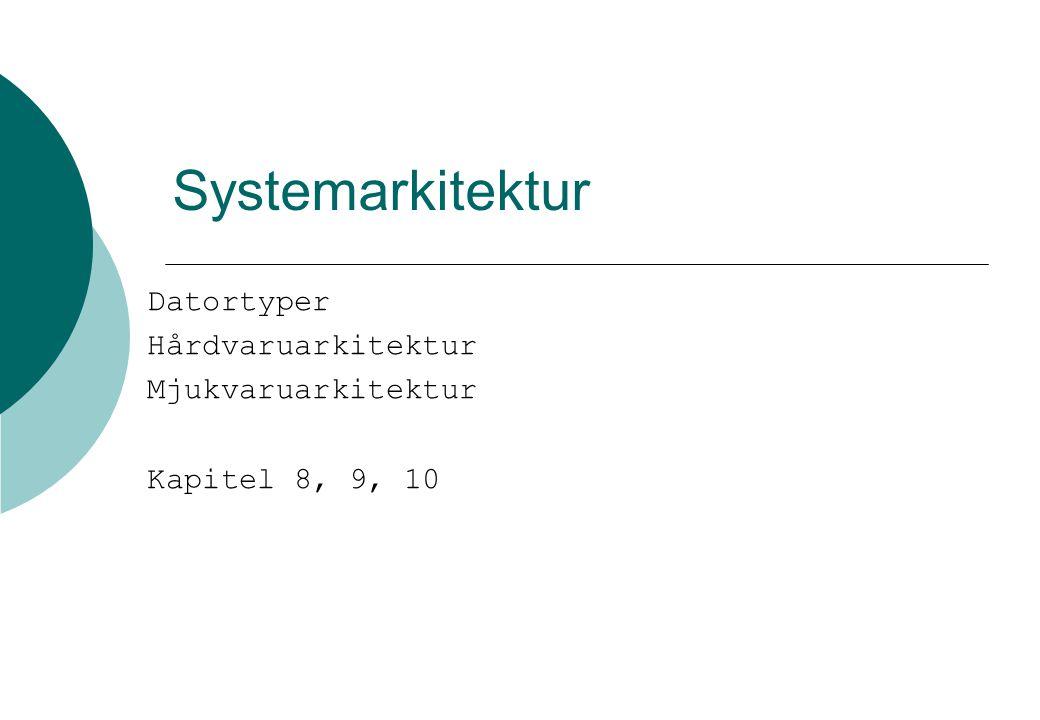 Systemarkitektur Datortyper Hårdvaruarkitektur Mjukvaruarkitektur Kapitel 8, 9, 10