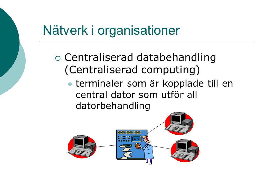 Nätverk i organisationer  Centraliserad databehandling (Centraliserad computing) terminaler som är kopplade till en central dator som utför all datorbehandling
