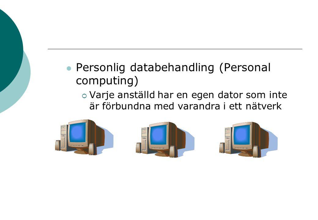 Personlig databehandling (Personal computing)  Varje anställd har en egen dator som inte är förbundna med varandra i ett nätverk