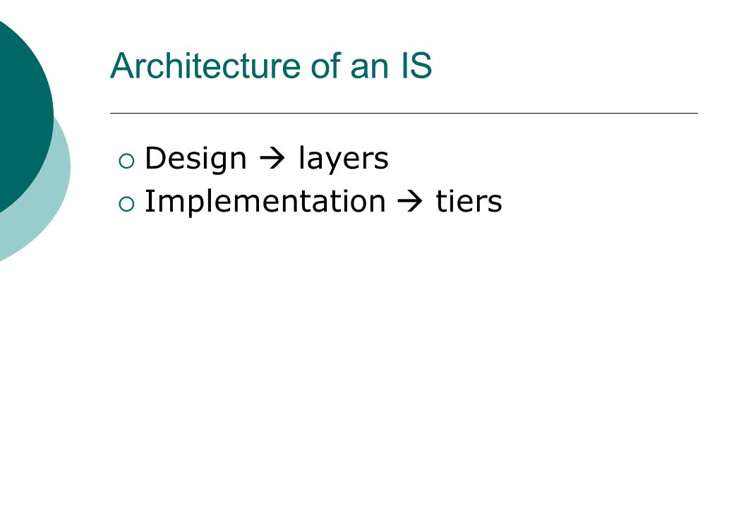 Architecture of an IS  Design  layers  Implementation  tiers