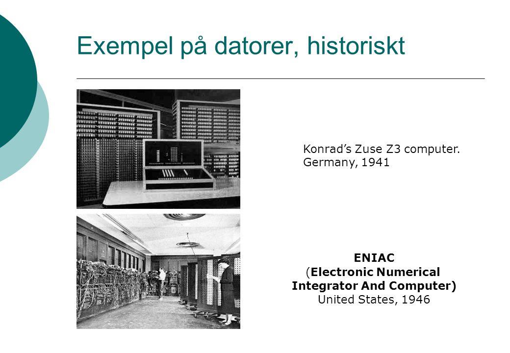Exempel på datorer, historiskt Konrad's Zuse Z3 computer.