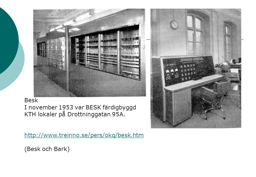 Besk I november 1953 var BESK färdigbyggd KTH lokaler på Drottninggatan 95A.